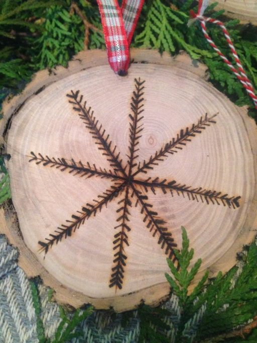 wood-burned snowflake